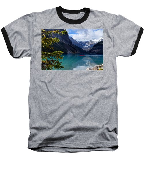 Canoe On Lake Louise Baseball T-Shirt
