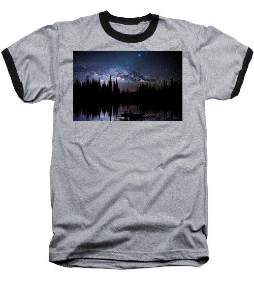 Canoeing - Milky Way - Night Scene Baseball T-Shirt by Andrea Kollo