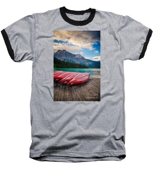 Canoes At Emerald Lake In Yoho National Park Baseball T-Shirt