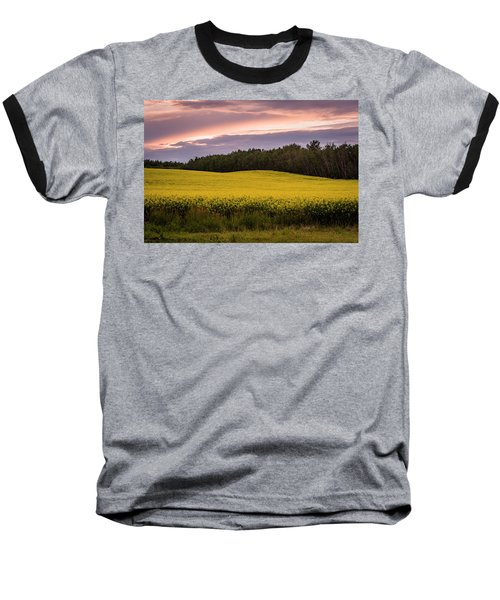 Baseball T-Shirt featuring the photograph Canola Crop Sunset by Darcy Michaelchuk