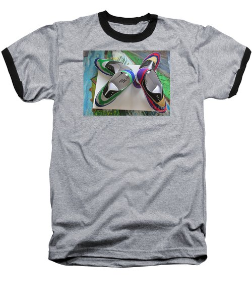 Baseball T-Shirt featuring the painting Canvas Shoe Art  - 006 by Mudiama Kammoh
