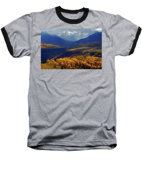 Baseball T-Shirt featuring the photograph Canyon Shadows And Light From Last Dollar Road In Colorado During Autumn by Jetson Nguyen