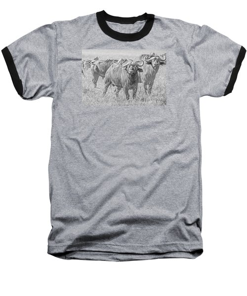 Baseball T-Shirt featuring the photograph Cape Buffalos In Serengeti by Pravine Chester