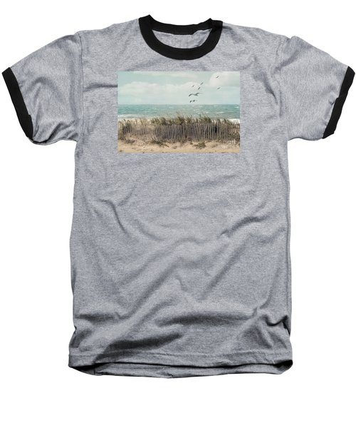 Cape Cod Beach Scene Baseball T-Shirt
