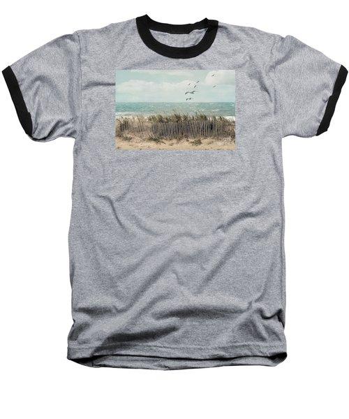 Cape Cod Beach Scene Baseball T-Shirt
