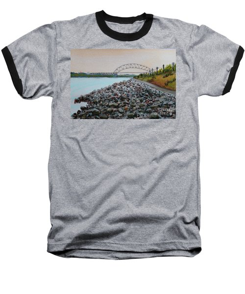 Cape Cod Canal To The Bourne Bridge Baseball T-Shirt by Rita Brown