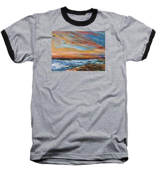 Cape Cod Sunrise Baseball T-Shirt by Michael Helfen