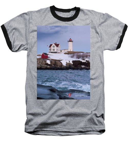 Cape Neddick Light At Dusk, York, Maine 21073 Baseball T-Shirt