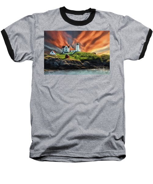 Baseball T-Shirt featuring the digital art Cape Neddick Nubble Lighthouse by Lois Bryan