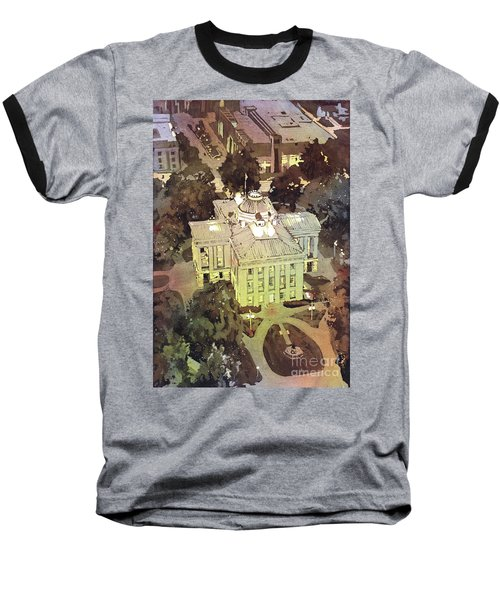 Baseball T-Shirt featuring the painting Capitol Of Stupid- Raleigh, Nc by Ryan Fox