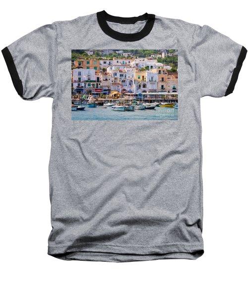 Capri Boat Harbor Baseball T-Shirt