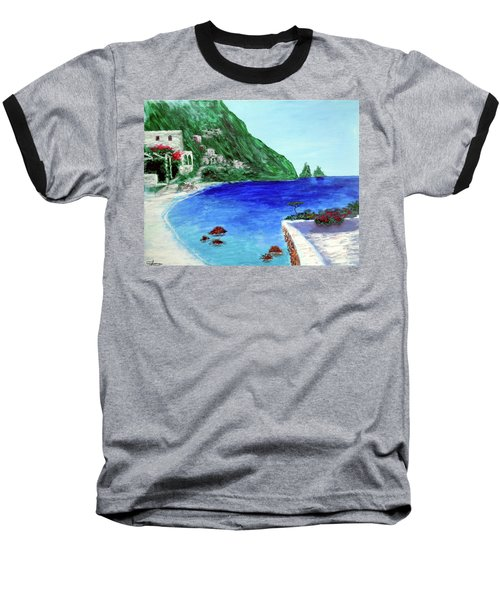 Baseball T-Shirt featuring the painting  Capri by Larry Cirigliano