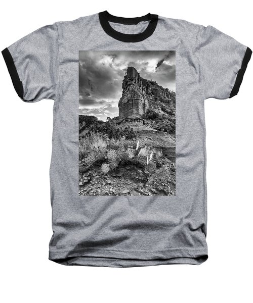 Baseball T-Shirt featuring the photograph Caprock And Cactus by Stephen Stookey