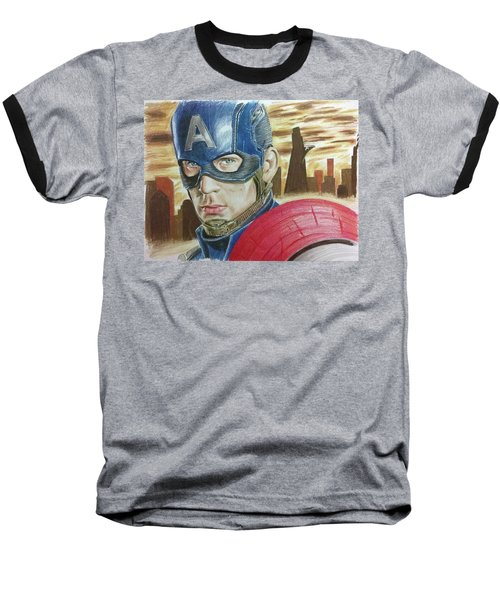 Baseball T-Shirt featuring the drawing Captain America by Michael McKenzie