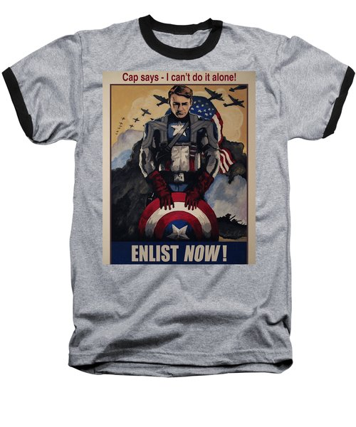 Captain America Recruiting Poster Baseball T-Shirt by Dale Loos Jr