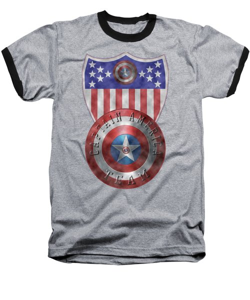 Captain America Shields On Gold  Baseball T-Shirt