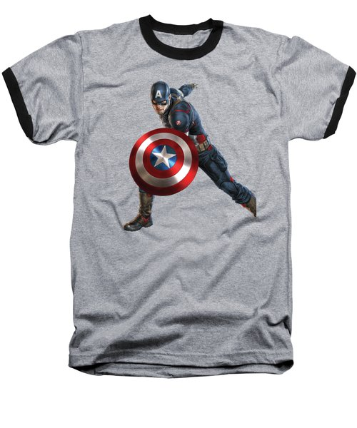 Baseball T-Shirt featuring the mixed media Captain America Splash Super Hero Series by Movie Poster Prints