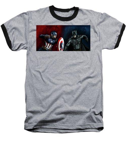 Captain America Vs Batman Baseball T-Shirt by Vinny John Usuriello