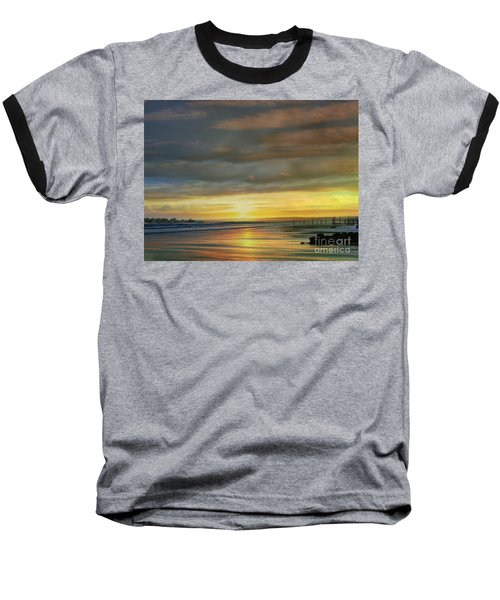 Captivating Sunset Over The Harbor Baseball T-Shirt by Judy Palkimas