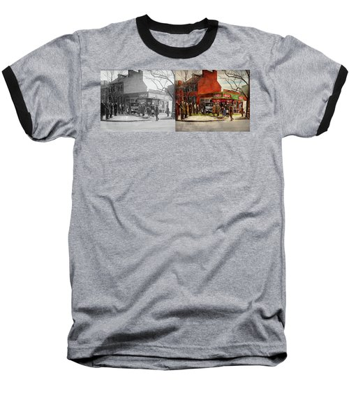 Baseball T-Shirt featuring the photograph Car - Accident - Looking Out For Number One 1921 - Side By Side by Mike Savad