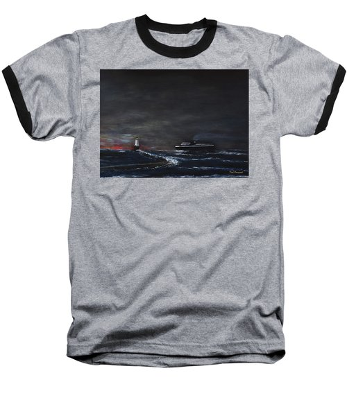 Car Ferry Badger November Crossing Baseball T-Shirt by Dick Bourgault