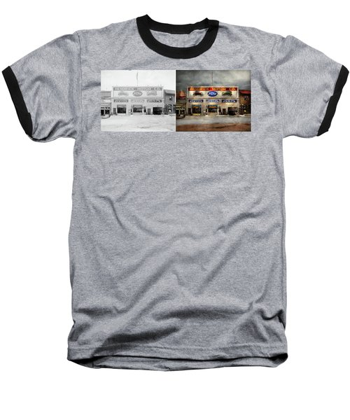 Baseball T-Shirt featuring the photograph Car - Garage - Hendricks Motor Co 1928 - Side By Side by Mike Savad