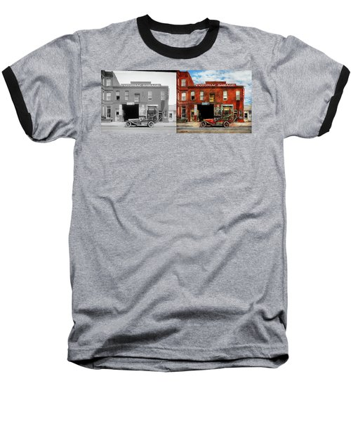 Baseball T-Shirt featuring the photograph Car - Garage - Misfit Garage 1922 - Side By Side by Mike Savad