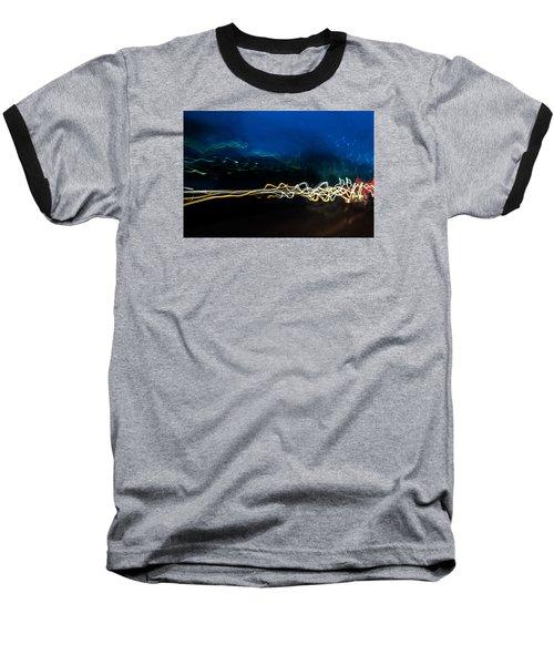 Car Light Trails At Dusk In City Baseball T-Shirt by John Williams
