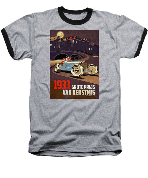 Car Racing Christmas Poster Of The 30s Baseball T-Shirt
