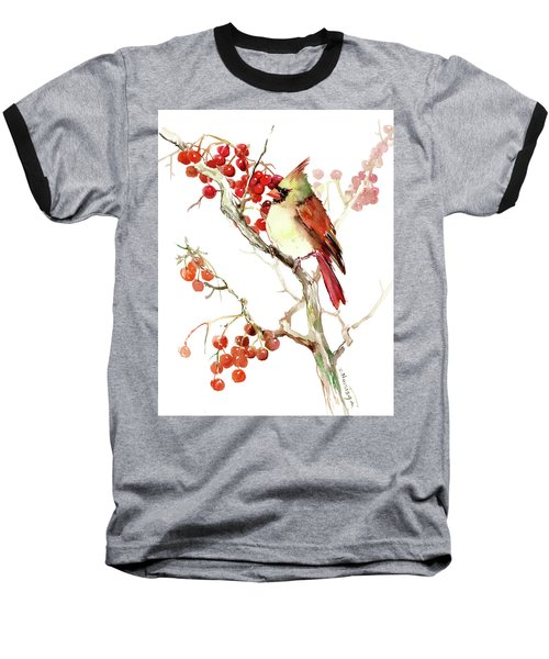 Cardinal Bird And Berries Baseball T-Shirt by Suren Nersisyan