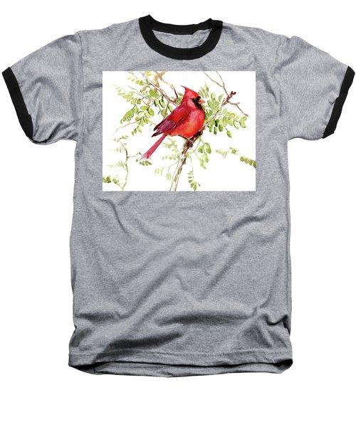 Cardinal Bird Baseball T-Shirt