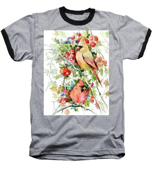 Cardinal Birds And Hawthorn Baseball T-Shirt