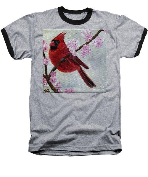 Cardinal In Cherry Blossoms Baseball T-Shirt