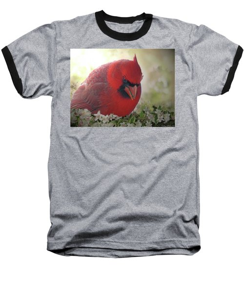 Baseball T-Shirt featuring the photograph Cardinal In Flowers by Debbie Portwood