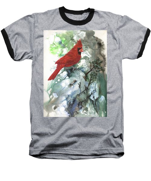 Baseball T-Shirt featuring the painting Cardinal by Sherry Shipley
