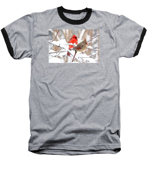 Baseball T-Shirt featuring the photograph Cardinals In The Winter by Trina Ansel