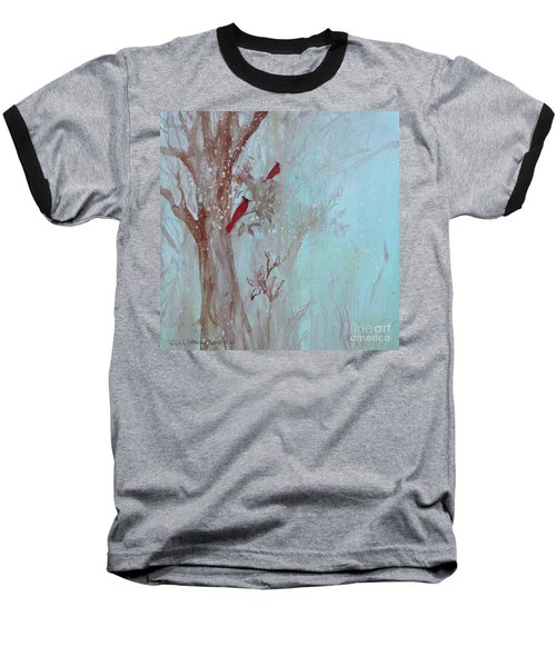 Baseball T-Shirt featuring the painting Cardinals In Trees Whilst Snowing by Robin Maria Pedrero