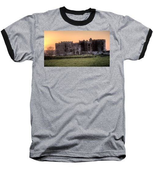 Carew Castle Coral Sunset Baseball T-Shirt by Steve Purnell