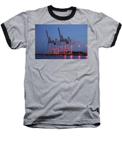 Cargo Cranes At Night Baseball T-Shirt