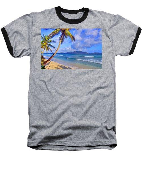 Caribbean Paradise Baseball T-Shirt by Scott Mahon