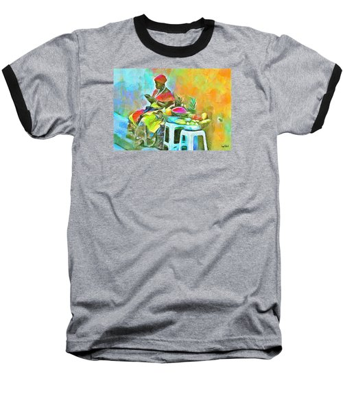 Caribbean Scenes - De Fruit Lady Baseball T-Shirt by Wayne Pascall