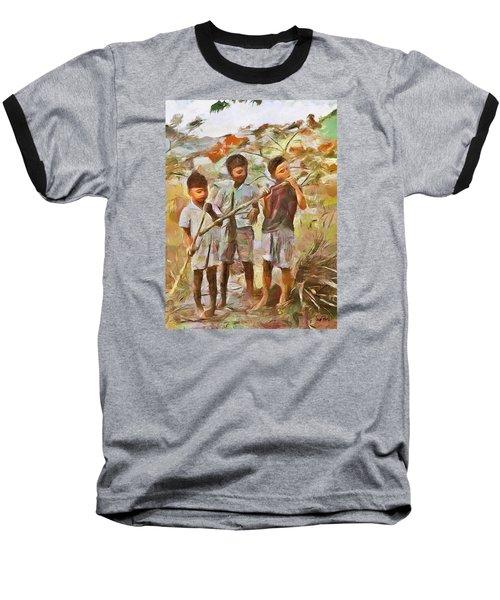 Baseball T-Shirt featuring the painting Caribbean Scenes - Eating Sugarcane by Wayne Pascall