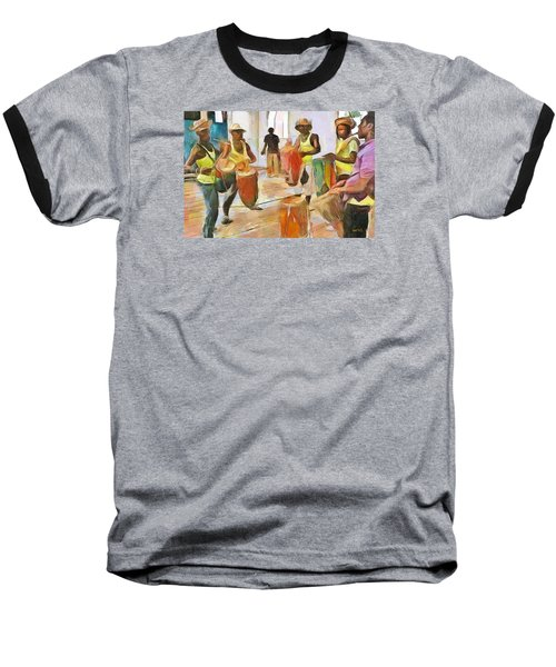 Baseball T-Shirt featuring the painting Caribbean Scenes - Folk Drummers by Wayne Pascall