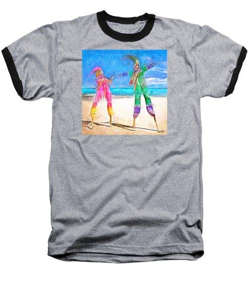 Baseball T-Shirt featuring the painting Caribbean Scenes - Moko Jumbie by Wayne Pascall