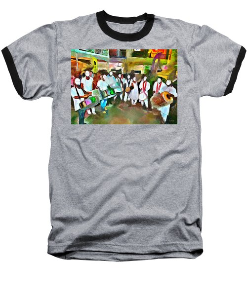 Caribbean Scenes - Pan And Tassa Baseball T-Shirt by Wayne Pascall