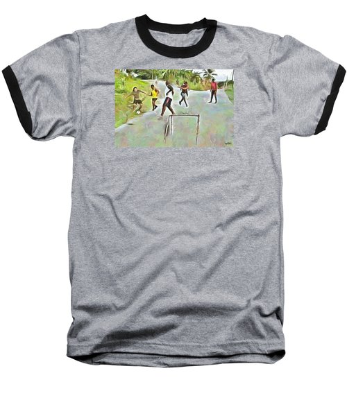 Baseball T-Shirt featuring the painting Caribbean Scenes - Small Goal In De Street by Wayne Pascall