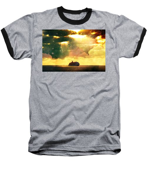 Caribbean Sunset Cloud Art Baseball T-Shirt