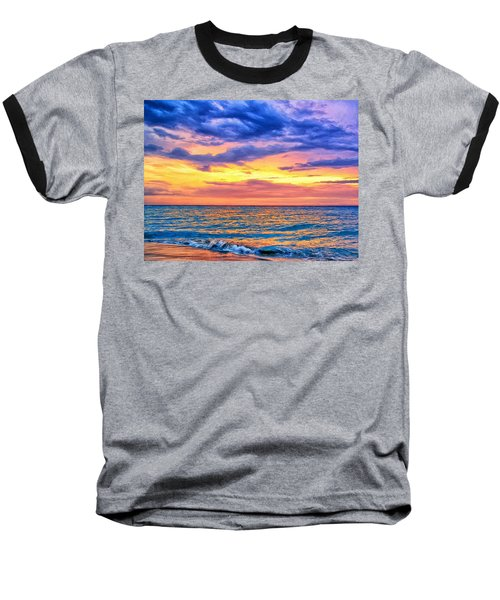Caribbean Sunset Baseball T-Shirt by Dominic Piperata