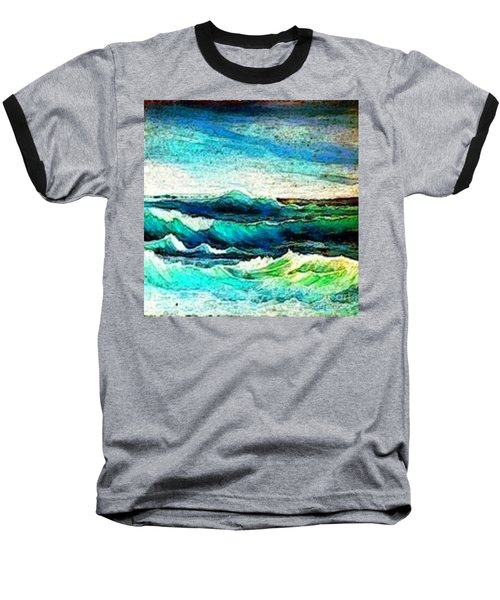 Baseball T-Shirt featuring the painting Caribbean Waves by Holly Martinson