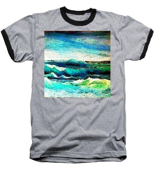 Caribbean Waves Baseball T-Shirt by Holly Martinson
